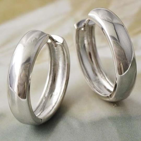 Silver Bogo Free Thick Plain Hoop Tone Free Shipping Earrings