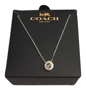 Coach Coach Open Circle Stone Necklace -Silver