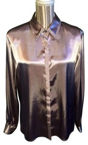 Karen Scott Button Down Shirt Silver