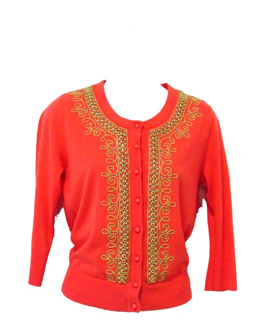Item - Orange With Gold Studs and Cording Cardigan Size 4 (S)
