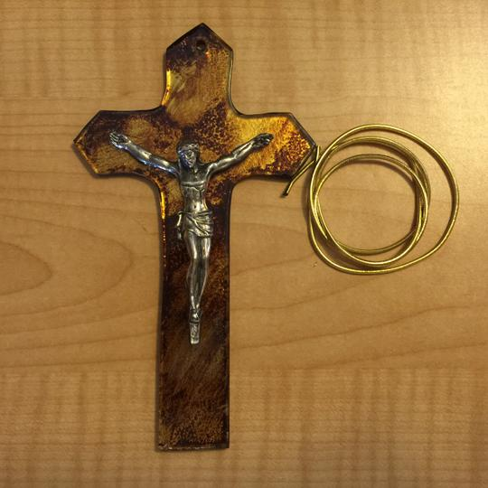 Other Crucifix Ornament; Glass & Gold Leaf by Crystal Castle [ MissSundayBest Closet ]