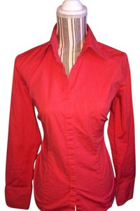 Ann Taylor LOFT Button Down Shirt Scarlet