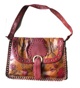 Isabella Fiore Tooled Leather Rose Studded New With Tags Shoulder Bag