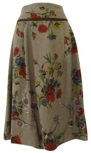 CAbi Floral A-line Skirt Brown