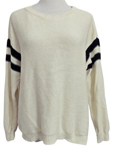 Forever 21 21 Hi Lo Hem Mid-weight Cotton Rugby Stripes Chunky Sweater