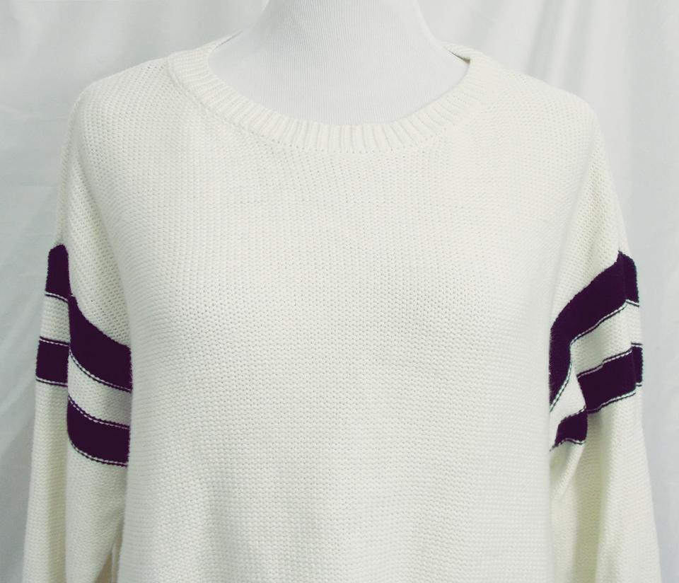 131cdf16b2f2 Forever 21 Lo Hem Mid-weight Cotton Rugby Stripes Chunky Sweater Image 6.  1234567