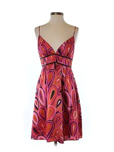 A.B.S. by Allen Schwartz Silk Print Sweetheart Dress