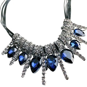 Other Statement Necklace Blue Rhinestone