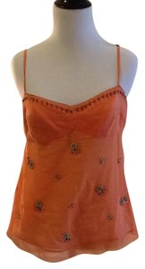 Elie Tahari Cotton 100% Made In India Top orange with beads