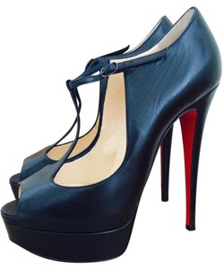 Christian Louboutin Red Sole Leather Ankle Strap black Pumps