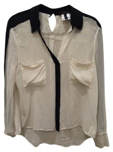 BCBG Max Azria Top White With Black Trim