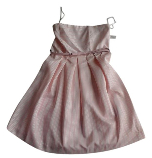 Item - Pink W/White Pinstripes Above Knee Short Casual Dress Size 8 (M)