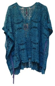 Johnny Was Crochet Poncho Boho V-neck Sweater