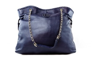 Tory Burch Leather Tote in Navy
