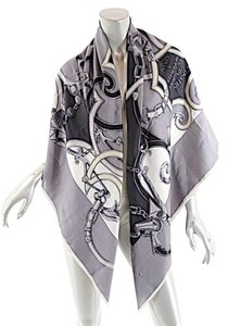 Herms Auth Hermes L'instruction Du Roy Shawl Scarf Cashmere/Silk 56x56