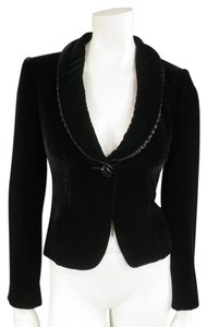 Armani Collezioni Velvet Tuxedo Cropped Shawl Ruffle Black Jacket