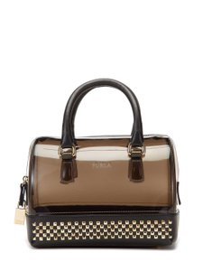 Furla Studded Leather Trim Satchel in Grey/Onyx