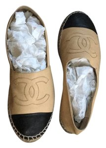 Chanel Cc Logo Leather Espadrille Flats