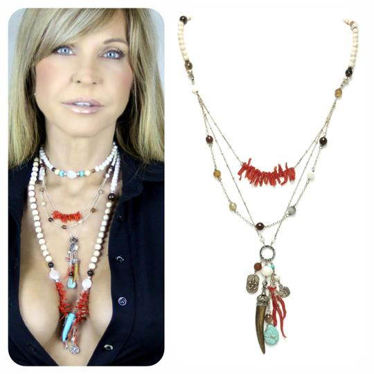 Kinley Sterling silver Multi Strand Kinley Necklace in Coral and Sandstone Image 1