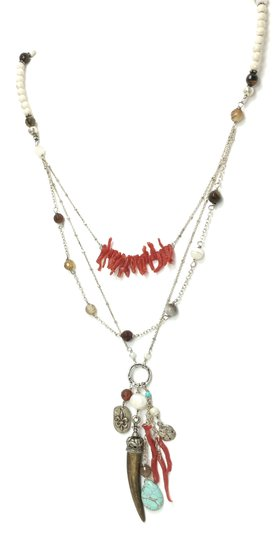 Kinley Sterling silver Multi Strand Kinley Necklace in Coral and Sandstone Image 2