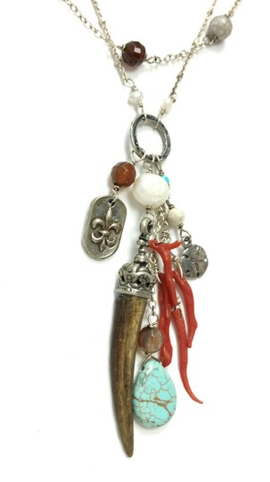 Kinley Sterling silver Multi Strand Kinley Necklace in Coral and Sandstone Image 4