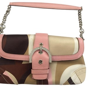 Coach Pink Brown White Tan Clutch