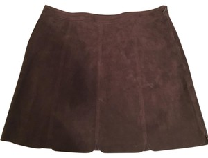 Zara Scalloped Suede Chocolate 70's Mini Skirt Brown