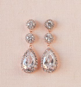Rose Gold Crystal Long Stud Earrings