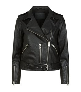 AllSaints Leather Zippers Moto Belted Motorcycle Jacket