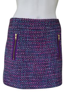 J.Crew Tweed Mini Zippers Teal Mini Skirt Multi-color