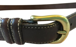 Bloomingdale's BROWN LEATHER BELT WITH GOLD BUCKLE AND WHITE STITCHING ON THE EDGE