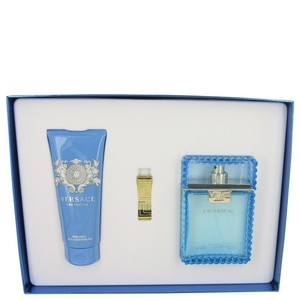 Versace Gift Set - 3.4 oz Eau De Toilette Spray (Eau Fraiche) + 3.4 oz Shower gel + Gold Versace Money Clip.