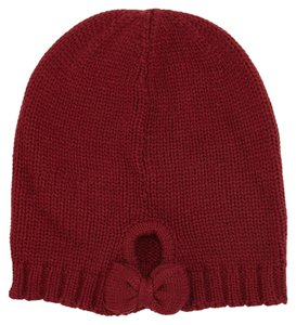 Kate Spade NEW Gathered Bow Knit Beanie Hat, Russet Red, KS1000023