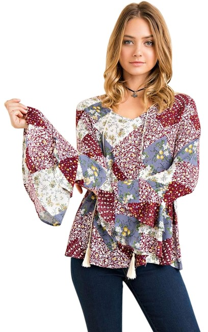 Preload https://img-static.tradesy.com/item/20224359/entro-wine-printed-quilt-ruffled-sleeve-blouse-size-8-m-0-1-650-650.jpg