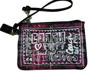Coach Poppy Wristlet in Pink, teal, purple, black plaid