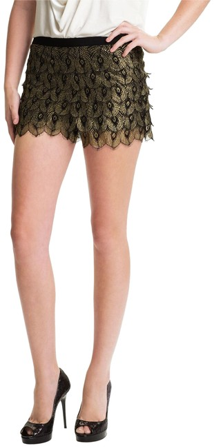 Item - Black/Gold XS Gilded Peacock Lace Metallic Shorts Size 0 (XS, 25)