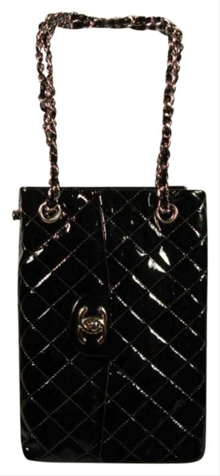 03f33a241fb7 Chanel 2.55 Reissue Quitled Sideways Flap Tote Black Patent Leather  Shoulder Bag