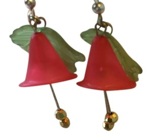 Lord & Taylor RED FLOWER AND GREEN LEAF EARRINGS WITH TWO HANGING GOLD BALLS