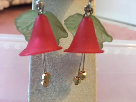 Lord & Taylor RED FLOWER AND GREEN LEAF EARRINGS WITH TWO HANGING GOLD BALLS Image 2