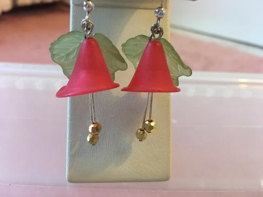 Lord & Taylor RED FLOWER AND GREEN LEAF EARRINGS WITH TWO HANGING GOLD BALLS Image 3