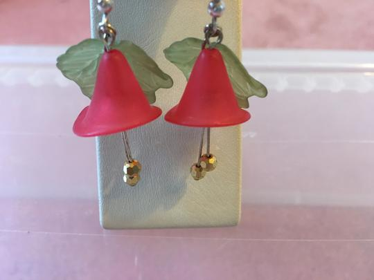 Lord & Taylor RED FLOWER AND GREEN LEAF EARRINGS WITH TWO HANGING GOLD BALLS Image 5