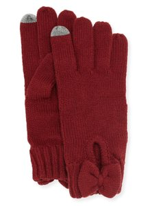Kate Spade NEW Gathered Bow Knit Gloves, tech/touch screen fingertips, ks1000024
