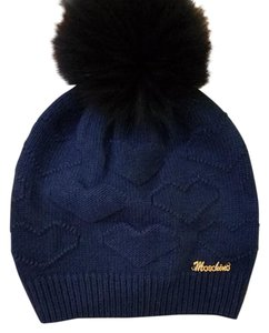 Moschino NEW Moschino pom pom Racoon fur blue hearts hat