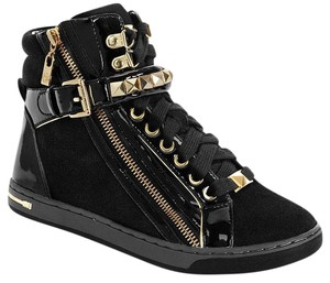 Michael Kors Leather Sneakers High Top Black, Gold Athletic