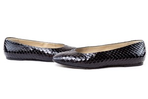 Prada Snakeskin Ballet Leather Black Flats
