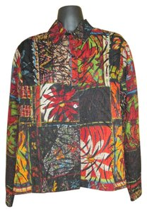 Chico's Floral Abstract Winter Spring Top Multicolored