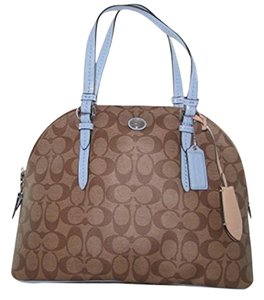 Coach Fall Signature Tote Satchel in Brown and Blue