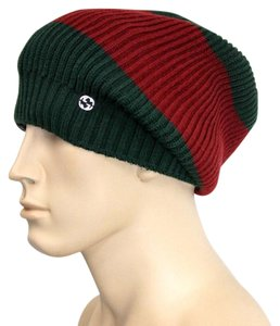 Gucci Gucci Wool Beanie Hat Interclocking G Green/Red/Green 310777 3174