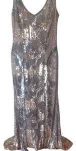 Theia Silver Fully Beaded Dress