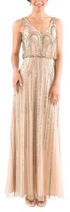 Adrianna Papell Bridesmaid Beading Gown Taupe Evening Dress